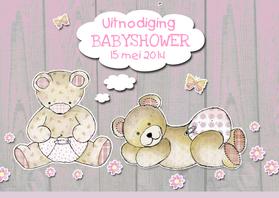 Uitnodigingen - Uitnodiging Babyshower beertjes