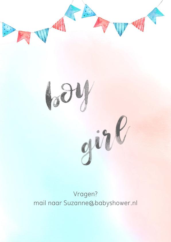 Uitnodiging babyshower blauw/roze 2