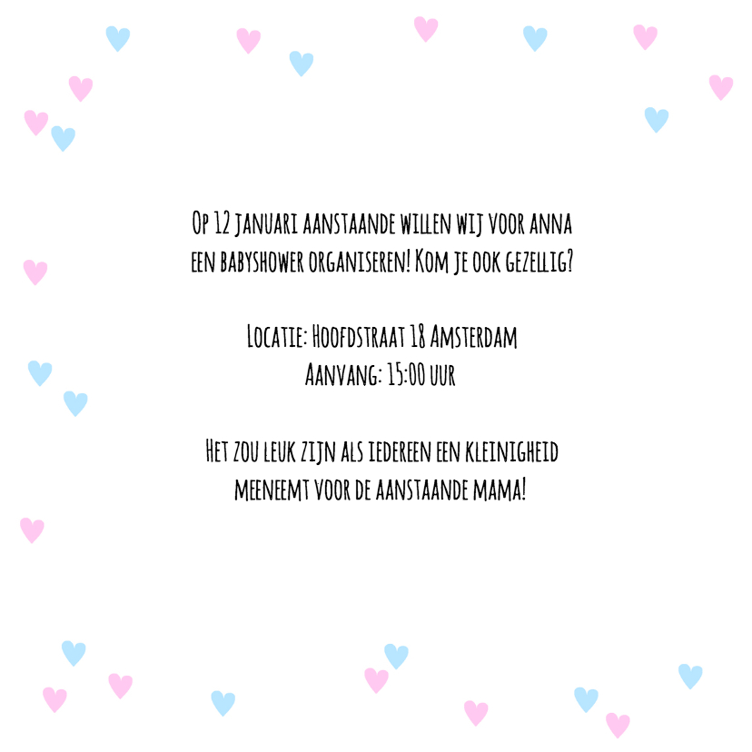 Uitnodiging babyshower hartjes en tekst blauw roze 2