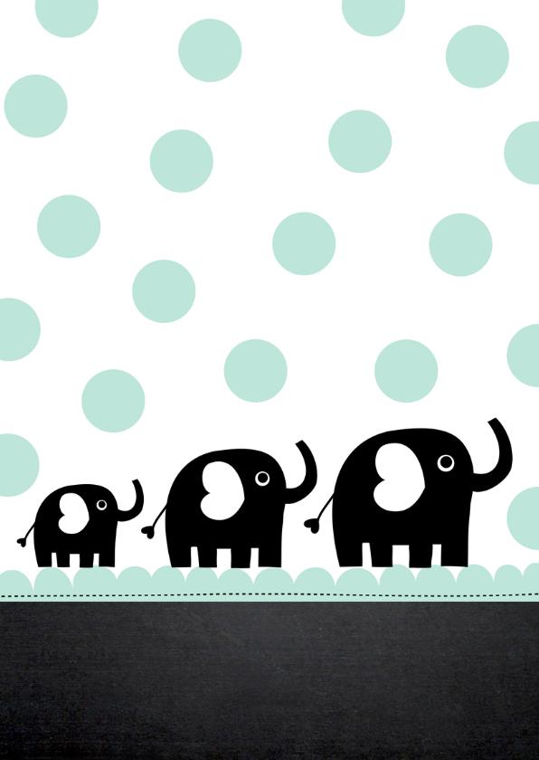 Uitnodiging babyshower olifantjes mint 2