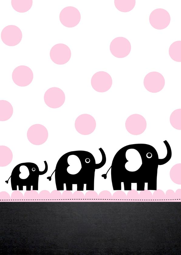 Uitnodiging babyshower olifantjes roze stippen 2