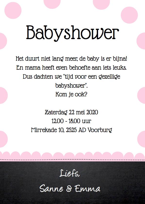 Uitnodiging babyshower olifantjes roze stippen 3