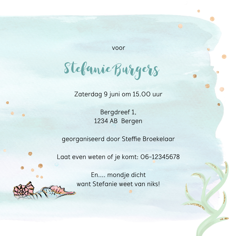 Uitnodiging babyshower zeemeermin 3