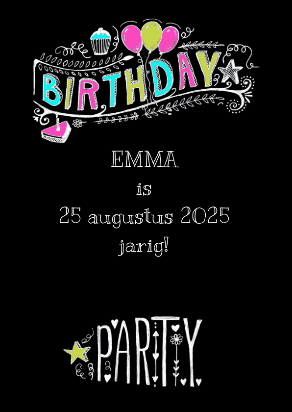 Uitnodiging Birthday Party tekst 2