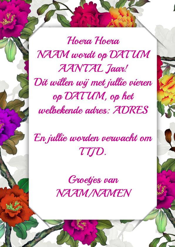 Uitnodiging bloemen en foto 3 RB 3