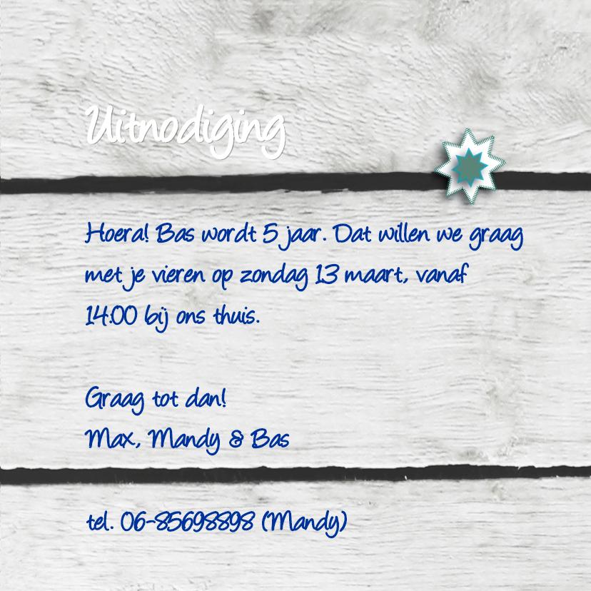 Uitnodiging broche eigen tekst jongen 3