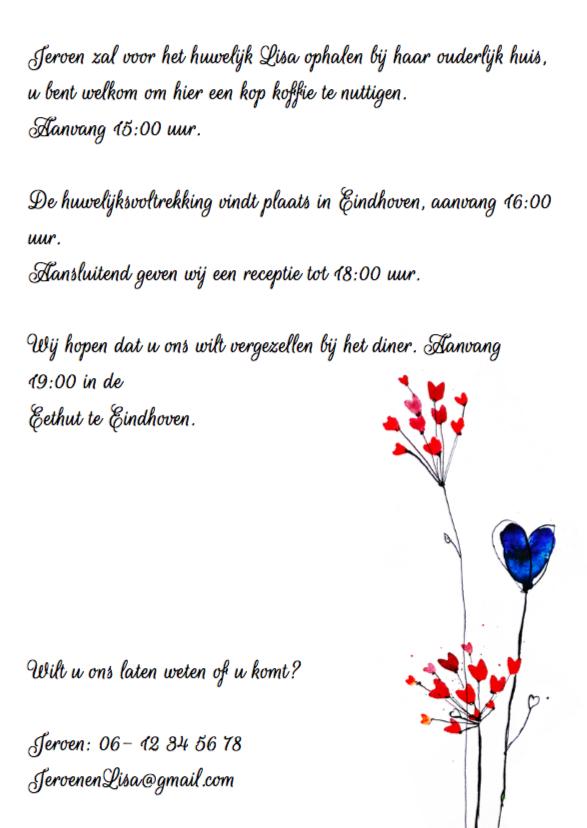 Uitnodiging bruiloft bloem 3