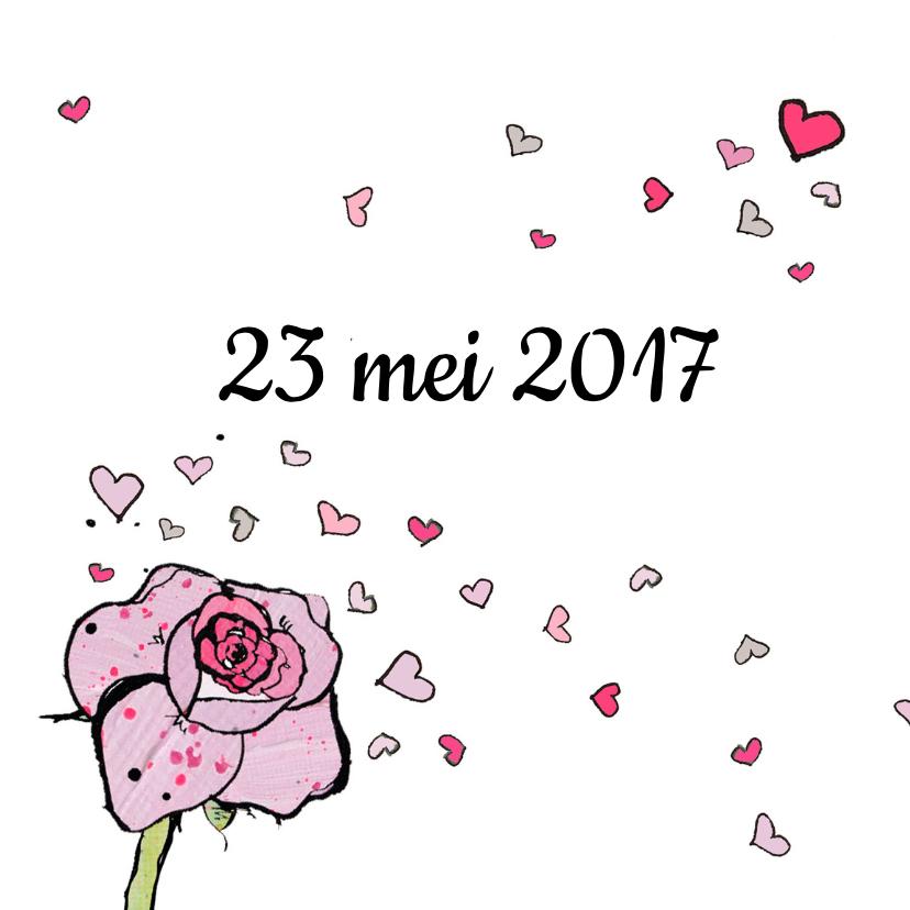 Uitnodiging bruiloft roos hart 2