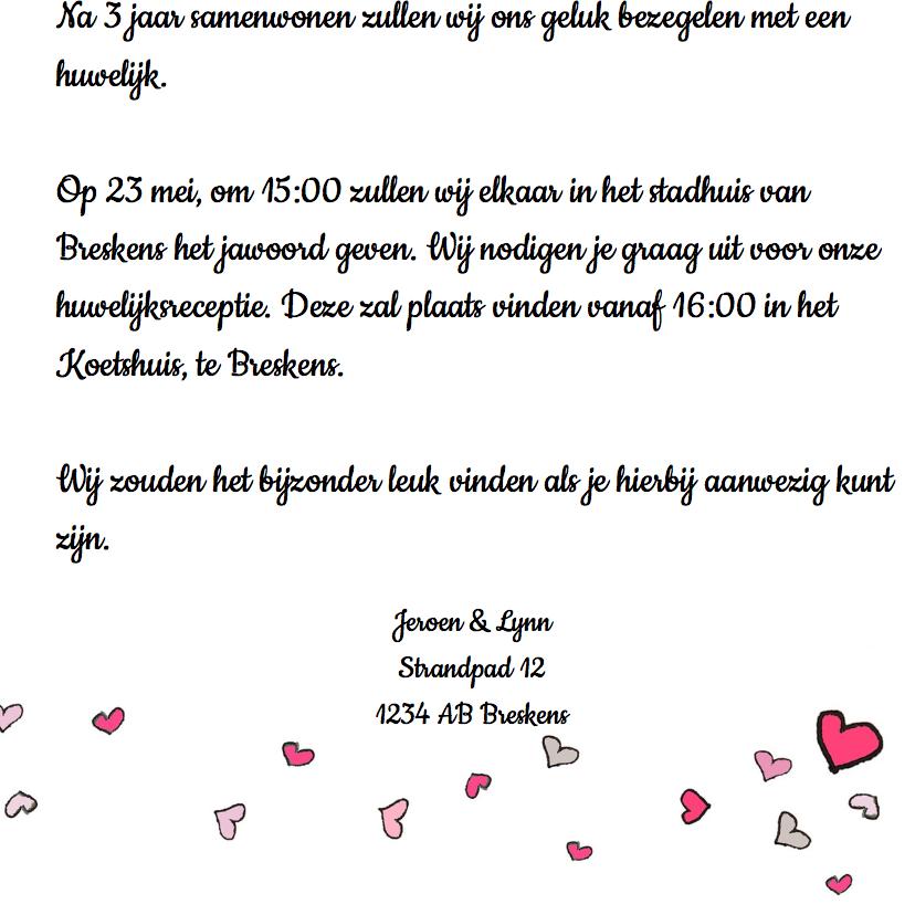 Uitnodiging bruiloft roos hart 3