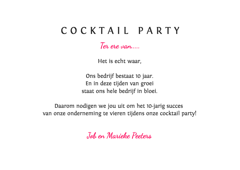 Uitnodiging cocktail party voor iedere gelegenheid 3