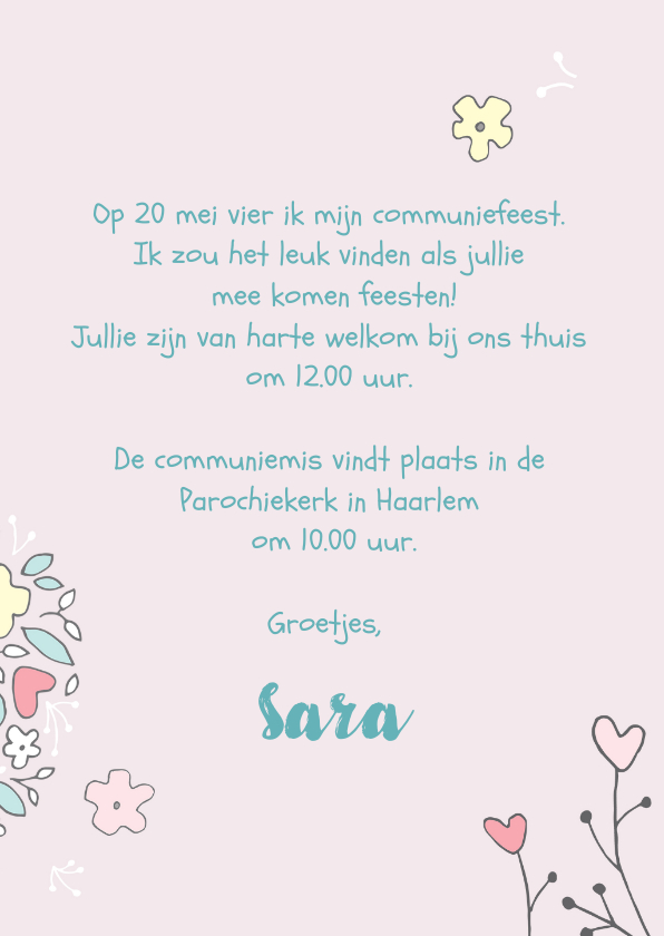 Uitnodiging communie bloemenillustratie 3