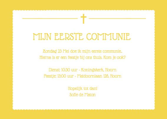 Uitnodiging Communie Geel Foto 3