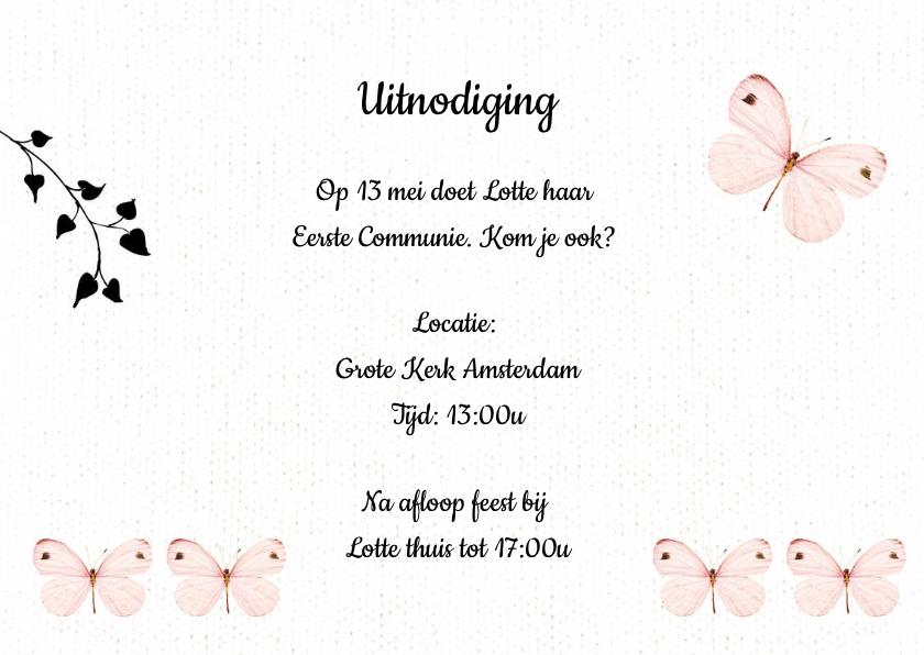 Uitnodiging communie met lieve roze vlinders en eigen foto 3