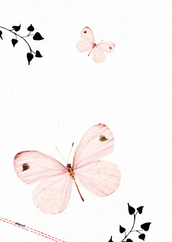 Uitnodiging Eerste Communie met lieve roze vlinders 2