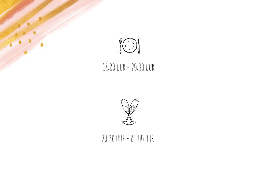 Uitnodiging etentje stijlvol goud en roze met eigen foto 2