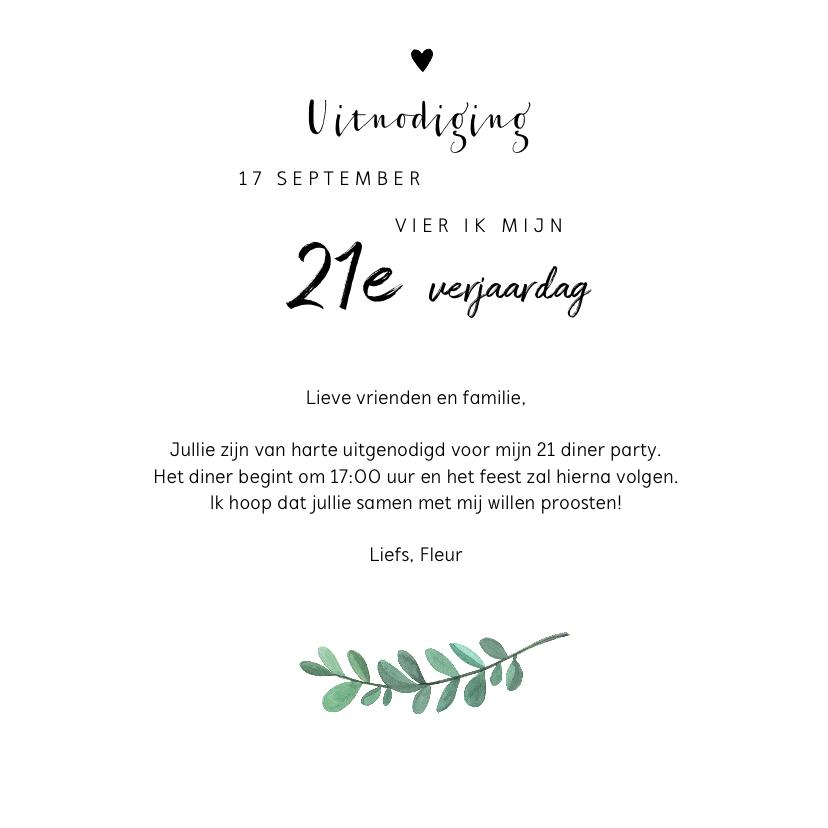 Uitnodiging etentje verjaardag 21 diner 3