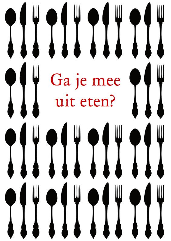 Beroemd Uitnodiging etentje zwart & wit - Uitnodigingen - Kaartje2go JT15