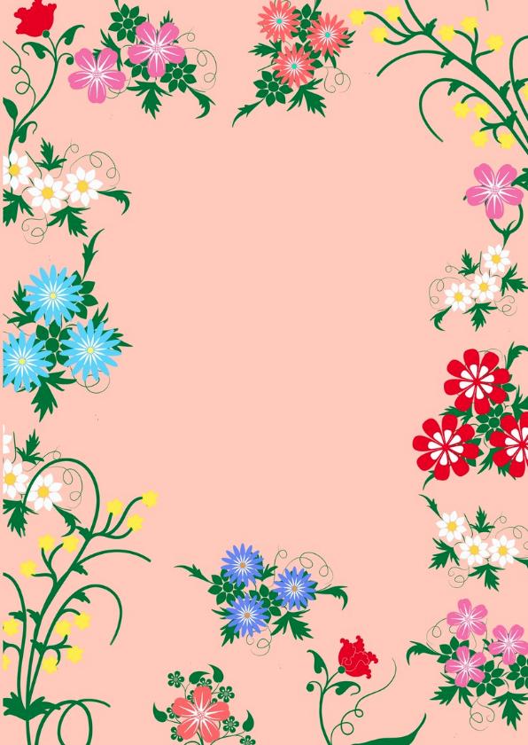 Uitnodiging feest met bloemen HE 3