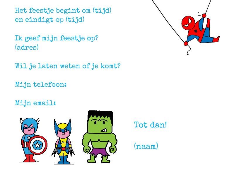 uitnodiging feest superhelden 3