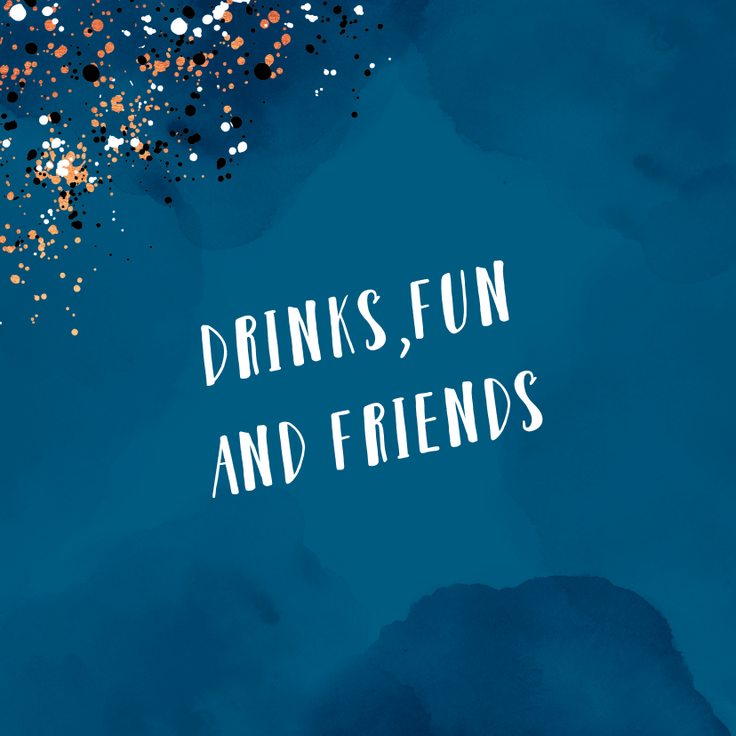 Uitnodiging feestje borrel pop the champagne met spetters 2