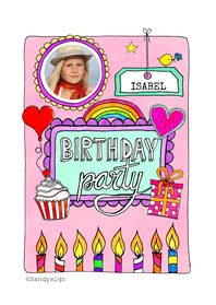 Kinderfeestjes - Uitnodiging feestje meisje - SD