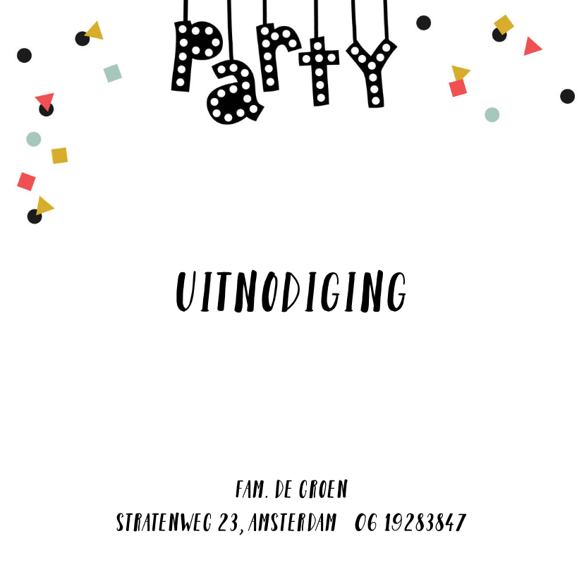 Uitnodiging fotocollage confetti party lampjes letters 2