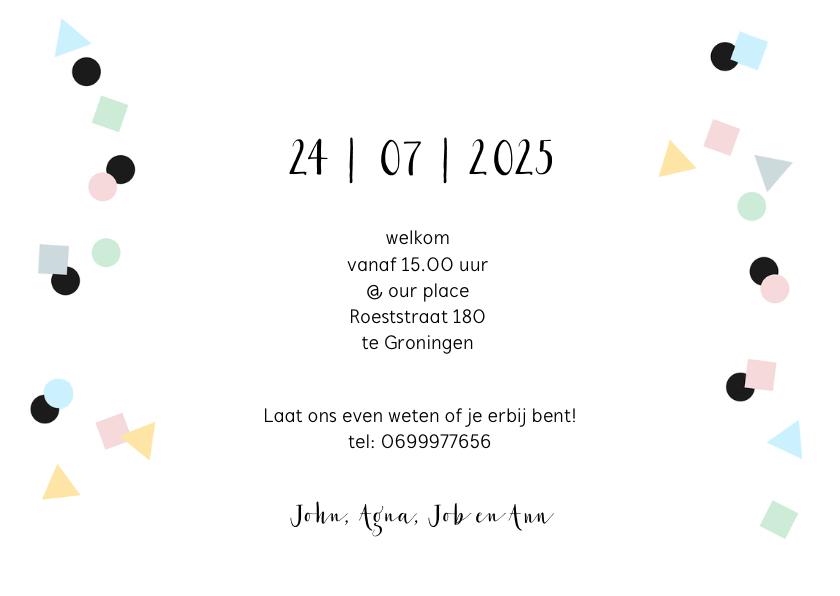 Uitnodiging fotocollage verjaardag feest confetti 3