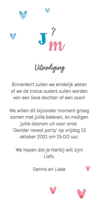 Uitnodiging gender reveal party waterverf jongen meisje Achterkant