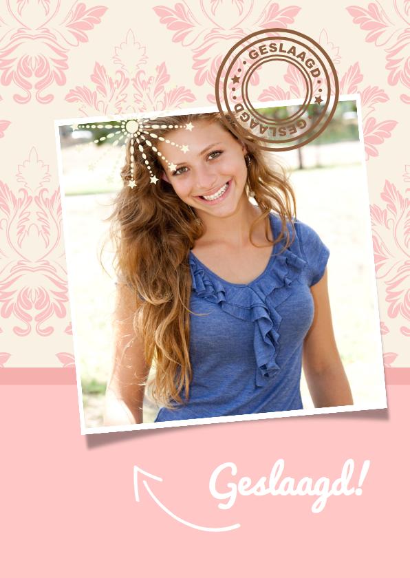 Uitnodiging geslaagd Roze foto 2