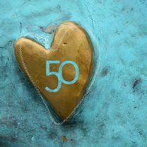 Jubileumkaarten - uitnodiging hart turquoise