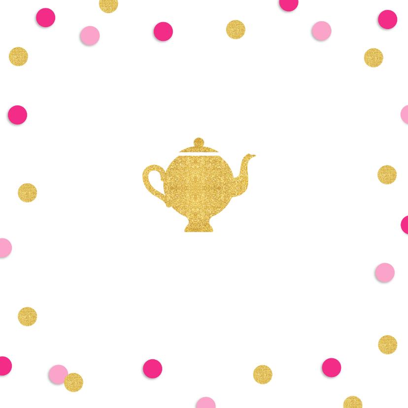 Uitnodiging High Tea confetti goud roze 2