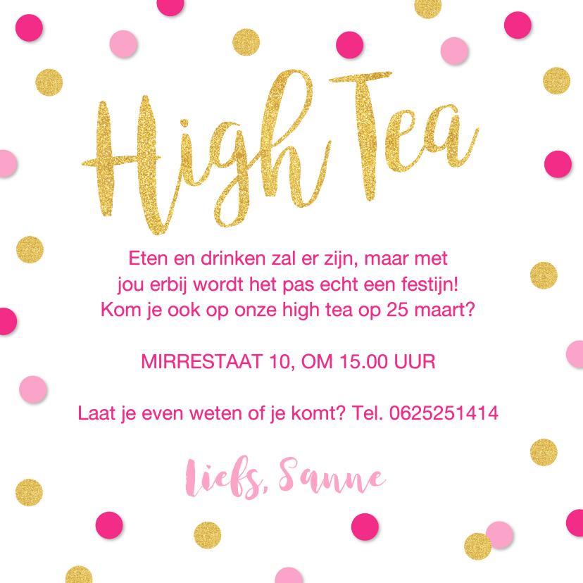 Uitnodiging High Tea confetti goud roze 3