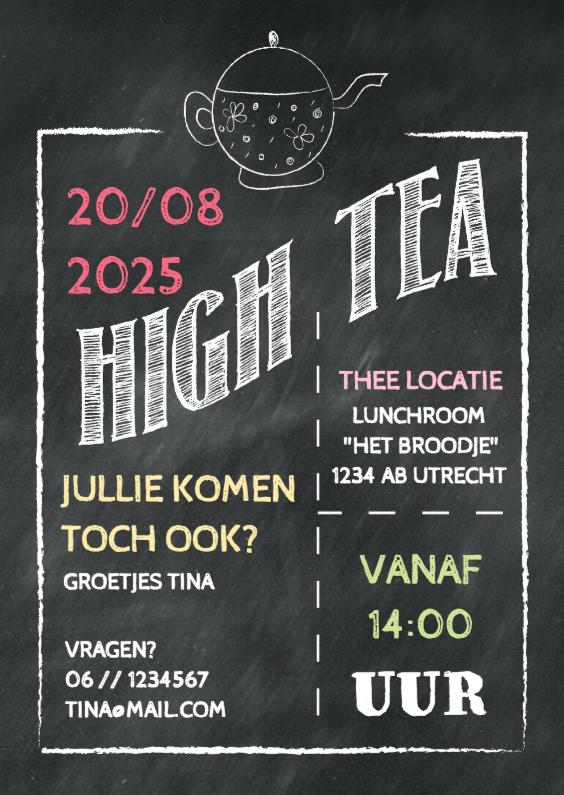 Beroemd Uitnodiging High Tea krijt - Uitnodigingen   Kaartje2go #FF51