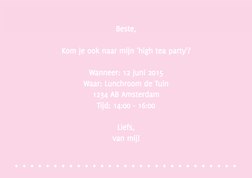 Uitnodiging high tea party 3