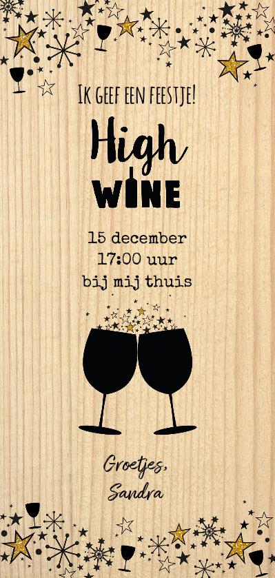 """Uitnodiging """"High wine""""  feestelijke kaart als wijnkist  Achterkant"""