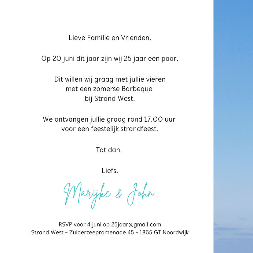 Uitnodiging Houten Wegwijzer blauwe lucht 3
