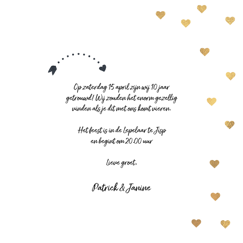 Uitnodiging jubileum huwelijk ballon 10 3