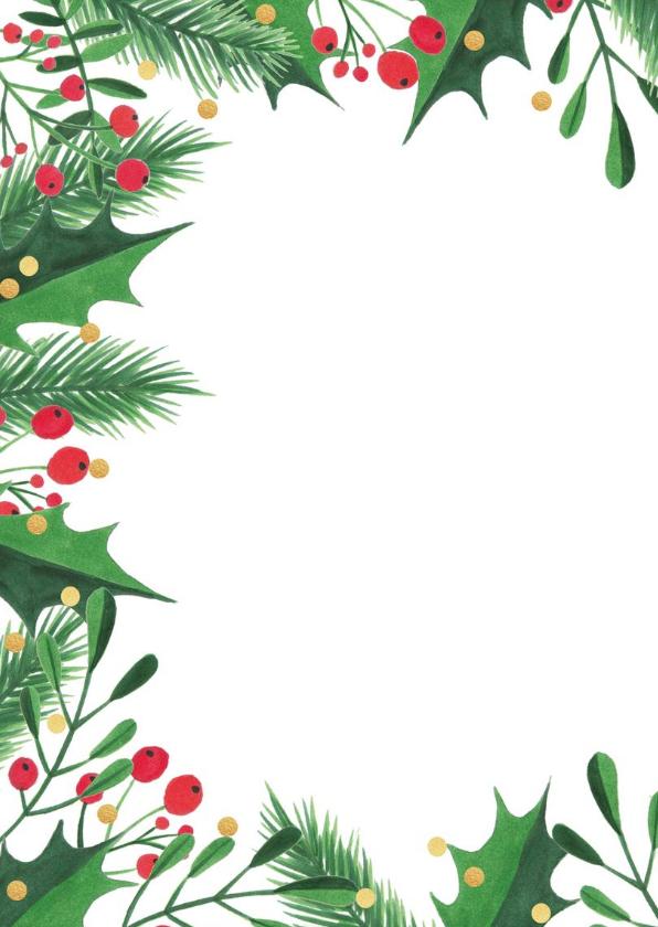 Uitnodiging kerstdiner kersttakken, hulst en confetti 2