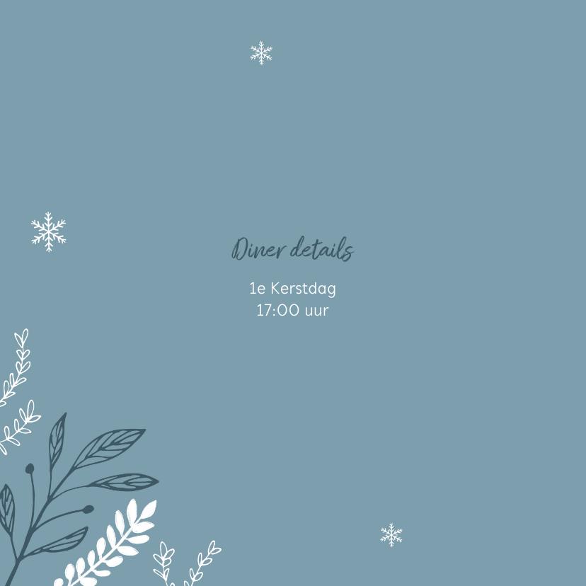 Uitnodiging kerstdiner stijlvol winter pastel blauw 2