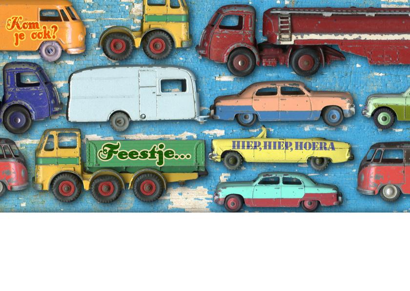 uitnodiging kinderfeest mannenkaart auto 2