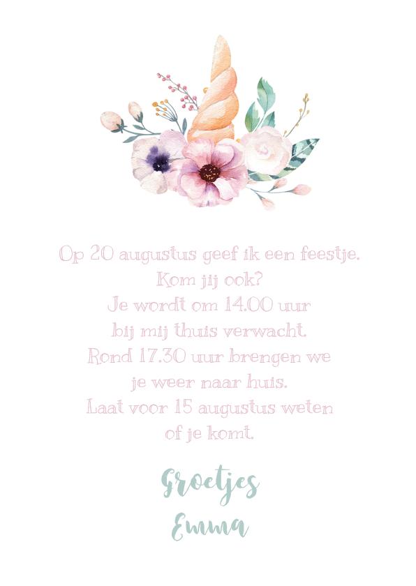 Uitnodiging kinderfeestje unicorn met waterverf bloemen 3