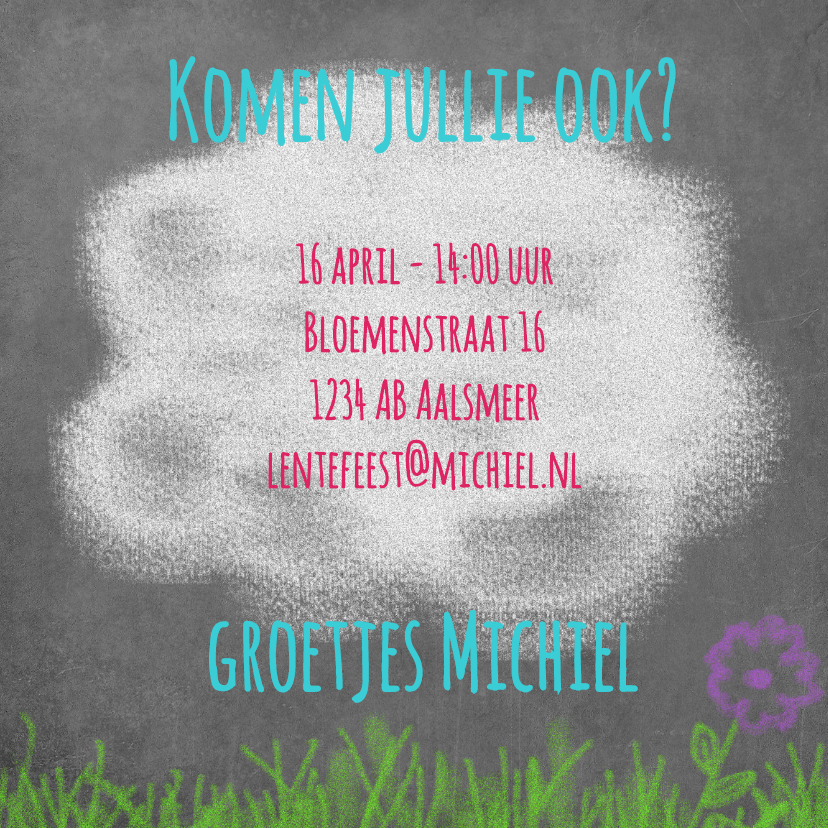Uitnodiging lente krijtbord - BK 3