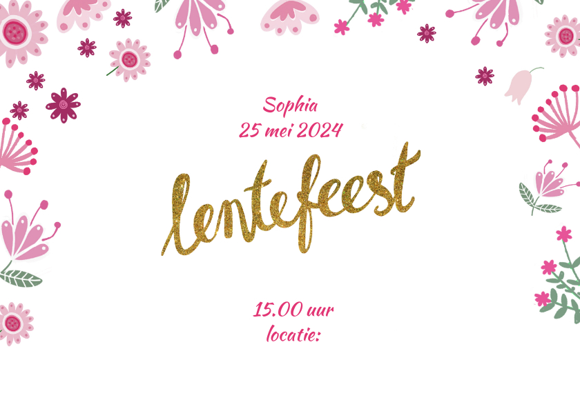 Uitnodiging lentefeest roze foto 2