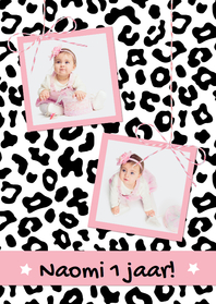 Kinderfeestjes - Uitnodiging Luipaard Zwart Wit