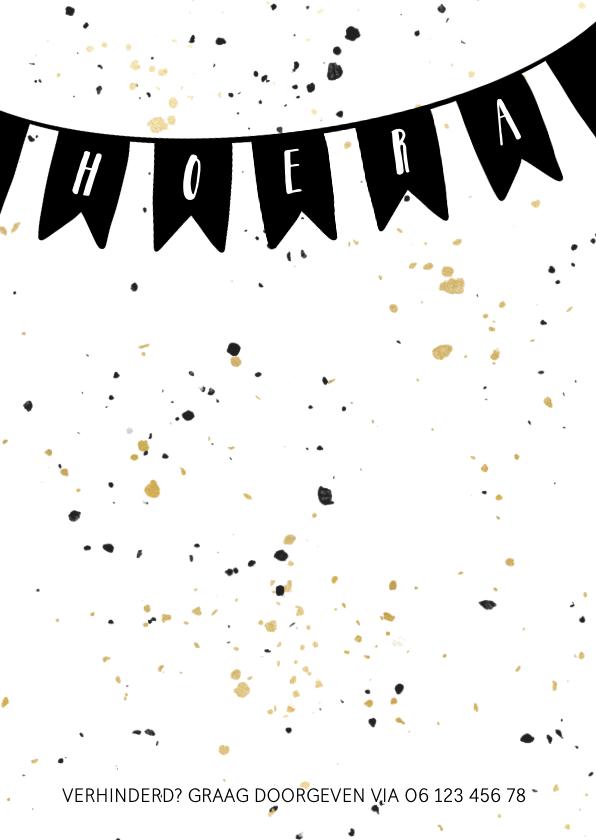 Uitnodiging met vlaggen en zwart gouden confetti 2