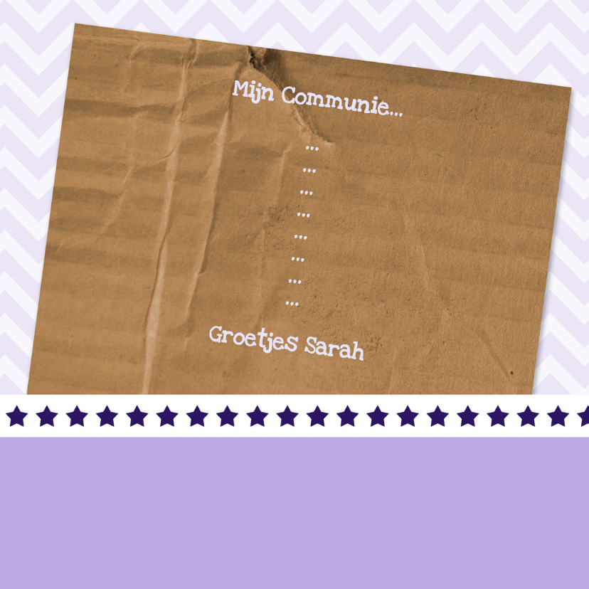 Uitnodiging paars en karton - BK 3