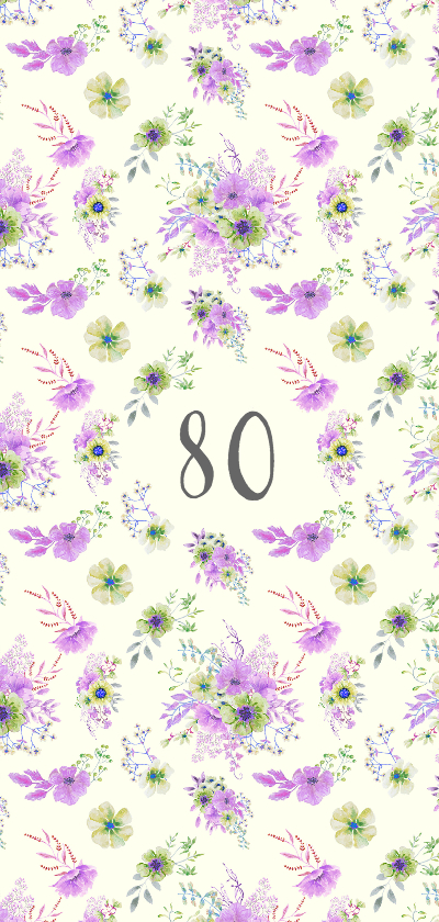 Uitnodiging paars-groene bloemen leeftijd achterkant