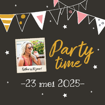 Uitnodiging - party time met foto