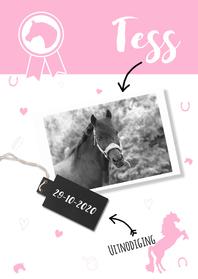 Kinderfeestjes - Uitnodiging roze paardje