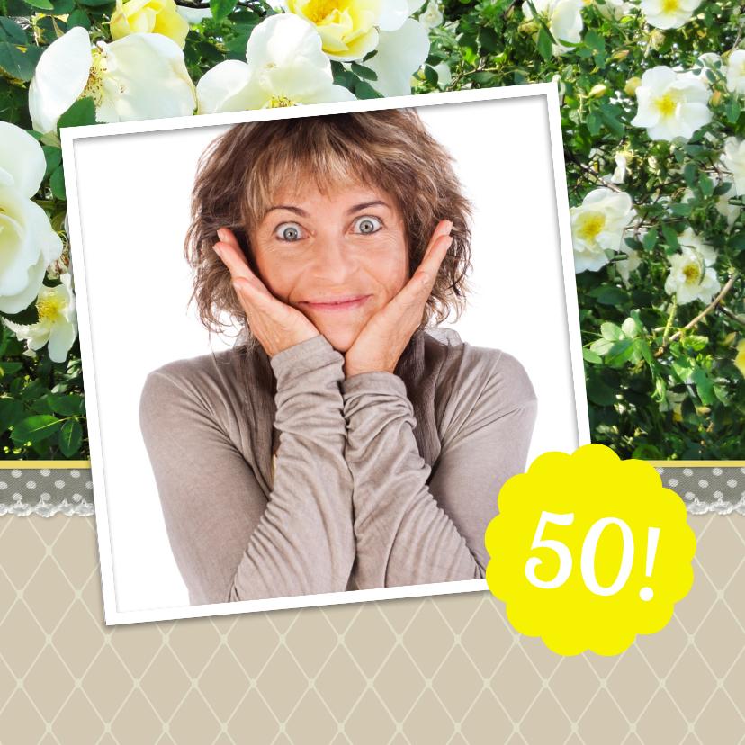 Uitnodiging rozen 50 met foto 2